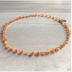 Raw carnelian 14K GOLD plated choker necklace